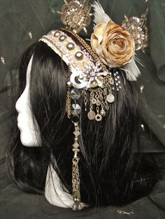 Tribal Fusion Headpiece Realm of Glass Bellydance by siphonophoria, $100.00