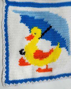 Küçük Ducky Duddle Afgan ve Yastık Tığ Pattern resmi