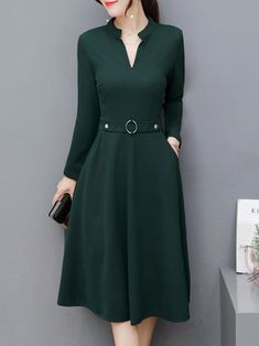 Solid Long Sleeve Work Stand Collar Dress