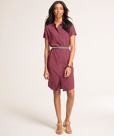 Great color on you. Belt it and pair with a blazer for sharp look.   Short-Sleeve Shirtdress, Dot: DRESSES | Free Shipping at L.L.Bean