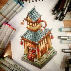 """Spring temple"" #copic #copicmarkers #copicart #dofus #gamedesign #horror #comics #cartoon #promarkers #sketches #temple #japan #demon    #Regram via @tino_copic"