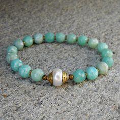 Amazonite gemstones, African trade beads, and Tibetan capped pearl guru bead mala bracelet lovepray jewelry