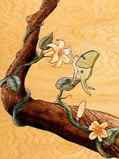 Fairy and flower on branch. Wood intarsia.