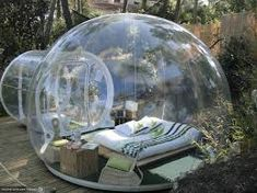 Hotels now offer accommodations in defunct airplanes, bubbles and caves. Outdoor Furniture, Outdoor Decor, Places, Design, Home Decor, Google, Art, Clear Winter, Bubbles