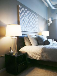 grey and white bedroom with chevron print. Gender neutral decor