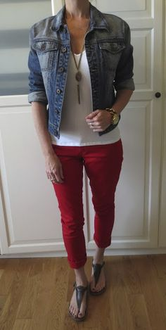 "Nice ""patriotic"" outfit! swap the jacket for a light denim shirt if it's warm…"