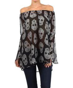 Look what I found on #zulily! Black Sugar Skull Off-Shoulder Top #zulilyfinds  $17.99