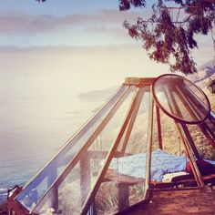 Glass teepee home in Big Sur. Designed by eco-architect, Mickey Muennig.