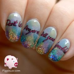PiggieLuv: Don't let anyone dull your sparkle! Nail art with a message. This is one of my favorite manicures i've seen in a while.
