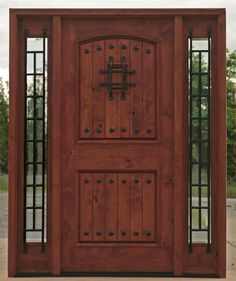 x x Knotty Alder Entry with 2 Lite Sidelites Also available in & available also. Includes: – 1 panel arch top door – Sidelites With Clear Glass – Pre-hung on matching knotty alder jambs – Exterior brick mold – Bearing Bronze hinges …