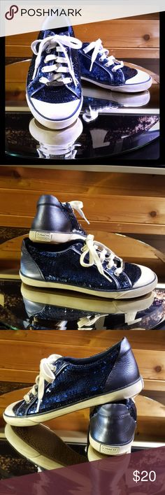 Coach Poppy sequin sneakers Deep royal blue 8 1/2 shiny sequin/leather tennis shoes. They are gently worn but so cute. Sizing runs just a bit small. The laces have a bit of blue dye on them...not noticeable when worn. Coach Shoes Sneakers