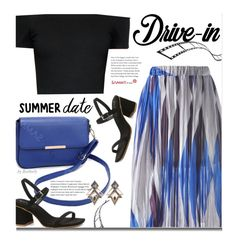 Summer Date: The Drive-In by beebeely-look on Polyvore featuring polyvore, fashion, style, Alice + Olivia, Lulu Frost, clothing, DateNight, stripes, sammydress, drivein and summerdate