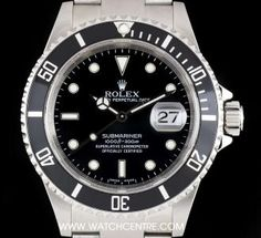 Rolex Stainless Steel Black Dial Submariner Date Gents B&P 16610