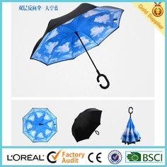 2016 new invention umbrella and upside down umbrella with C handle reverse umbrella