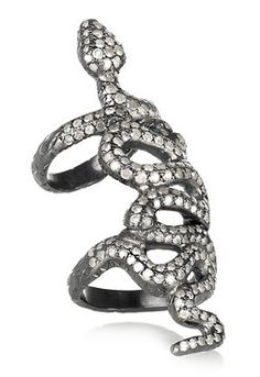 Loree Rodkin, Baby Snake 18-karat rhodium white gold diamond armor ring -- LOVE. wish i had $14,825 to spare
