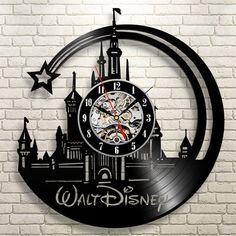 CD Vinyl Record Wall Clock Modern Cartoon Design Black Wall Watch Home Decor Clock Relogio Parede for Children Gift Deco Disney, Disney Fun, Disney Movies, Disney Stuff, Disney Magic, Disney Mickey, Mickey Mouse, Record Clock, Record Wall