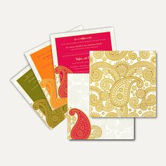 This card is made out of vellum paper with traditional golden paisley design all around. It has option of three different colored paisley border inserts. Envelope and inserts are made out of Ivory cream texture paper board with same paisley design. #IslamicCards #MuslimWeddingCards