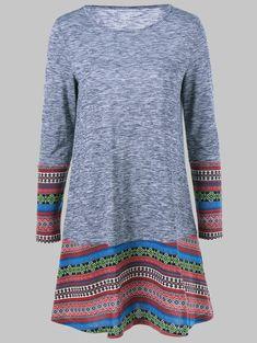 Tribal Print Long Sleeve Dress