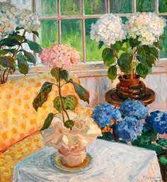 THOROLF HOLMBOE Garden with Hydrangeas in Pots (1916)