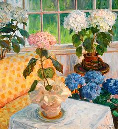 THOROLF HOLMBOE Garden with Hydrangeas in Pots (1916)