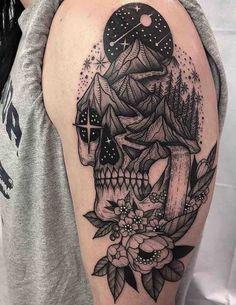Skull Tattoos Skull tattoos are a staple design in tattoo culture, they have historic ties to Mexican culture where the sugar skull design originated from Feminine Skull Tattoos, Skull Sleeve Tattoos, Quarter Sleeve Tattoos, Tattoos For Women Half Sleeve, Sugar Skull Tattoos, Tattoo Sleeve Designs, Unique Tattoos, Nature Tattoo Sleeve Women, Floral Skull Tattoos