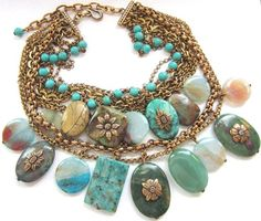 Authentic Stephen Dweck Turquoise Pebble Necklace