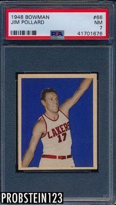 ec527b988 1948 Bowman Basketball  66 Jim Pollard Minneapolis Lakers HOF PSA 7 VERY  CLEAN Basketball Cards
