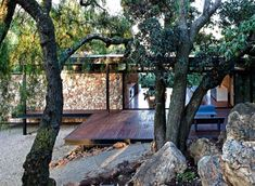 """archatlas: """" Floating Stone Wall Residence in Johannesburg The Westcliff Pavilion by GASS is a steel-framed pavilion structure located in Johannesburg, South Africa. From the architects: This Pavilion Architecture, Interior Architecture, Interior Design, Steel Framing, Steel Frame House, Steel House, Cottage Design, Mid Century House, Prefab"""