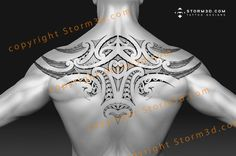 This upperback tattoo is a kind of wings design with realistic feathers on the sides. The tribal patterns consist of Maori inspired koru shapes & spearheads Body Art Tattoos, Hand Tattoos, Sleeve Tattoos, Maori Tattoos, Polynesian Tattoo Designs, Maori Tattoo Designs, Tribal Tattoos For Men, Tattoos For Guys, Wolf Pack Tattoo