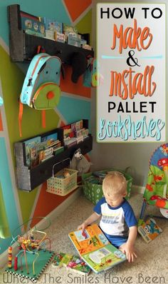 Pallet Book Shelves---I love the colors on the wall and the book shelves!