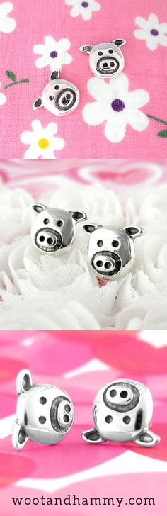 Silly Pig Face Earrings. One sure way to make people smile would be to wear these cute pig earrings.They look a lot like a small child's drawing, which means that each of the pigs' defining features has been distilled to its very essence:The snout is a ring around two dots, which are the nostrils. The eyes are another pair of dots that look like the nostrils, only spaced a little wider. Face Earrings, Cute Pigs, Clay Animals, Little Pigs, Animal Jewelry, Diamond Are A Girls Best Friend, Dots, Smile, Drawings