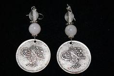 Quartz Bead Coin Earrings  $ 65.00