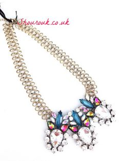 Divine Delight Gorgeous Statement Necklace  Three Large Glass Gems on a Ladder Chain   Size Approx : 27cm Length  x 7cm Adjustable  Pendant Overall 13 x 7 cm
