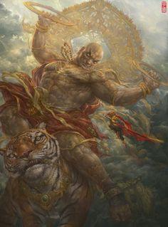 Dark Fantasy Art, Fantasy Artwork, Fantasy World, Fantasy Inspiration, Character Design Inspiration, Complex Art, Asian Artwork, Monkey King, Epic Art