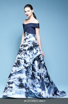 Carolina Herrera Off the Shoulder Print Ballgown (In Store Only)