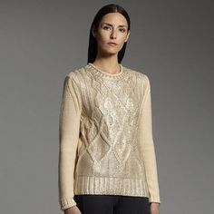 ShopStyle: Narciso Rodriguezfor designation foil cable-knit sweater