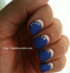 Moschino-alike military nails with matte navy. I really like the matte! Navy Nail Art, Navy Nails, Bling Nails, Matte Nails, Fun Nails, Blue And Silver Nails, Royal Blue Nails, Gorgeous Nails, Pretty Nails