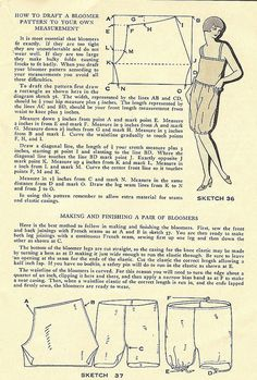 Instructions for drafting the pattern and making bloomers, 1929. #vintage #1920s #sewing_patterns