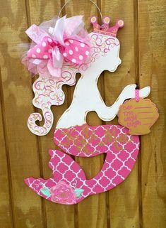 Mermaid Baby Door Hanger by craftigirlcreations on Etsy Hospital Door Hangers, Baby Door Hangers, Baby Shower Gift Basket, Baby Shower Gifts, Baby Elephant Nursery, Baby Mermaid, Wood Cutouts, Painted Doors, Wooden Signs