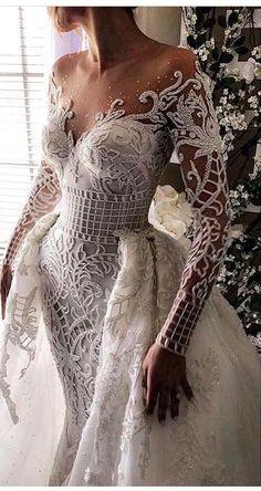 Long Sleeved Wedding Dresses: 20 Perfect Gowns for Brides! - weddingtopia Long Sleeved Wedding Dresses: 20 Perfect Gowns for Brides! Long Sleeve Wedding, Wedding Dress Sleeves, Dream Wedding Dresses, Bridal Dresses, Wedding Gowns, Lace Wedding, Dresses Dresses, Crochet Wedding, Wedding Art