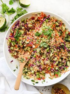 Thai Quinoa Salad - foodiecrush:: I made this for dinner and it is insanely good. I added chicken and extra sesame oil and fish sauce. Quinoa Salad Recipes, Raw Food Recipes, Asian Recipes, Vegetarian Recipes, Cooking Recipes, Healthy Recipes, Cooking Tips, Kale Recipes, Easy Summer Salads