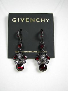 Givenchy  Red & Black Swarovski Crystal Hematite Tone Earrings NWT MSRP $48...Only $32.99 with free shipping!!