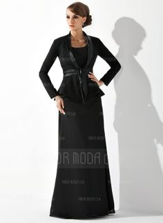 Sheath Scoop Neck Floor-Length Chiffon Mother of the Bride Dress (008005947)