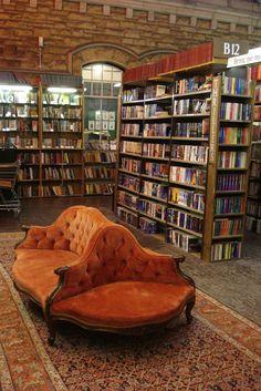 My ideal home library.Barter Books, secondhand bookshop in Alnwick Station, Northumberland, England Beautiful Library, Dream Library, Cozy Library, Library Ideas, Future Library, Reading Library, Library Chair, Bohemian House, Home Libraries