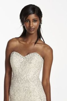 Strapless Embellished Trumpet Wedding Gown at David's Bridal