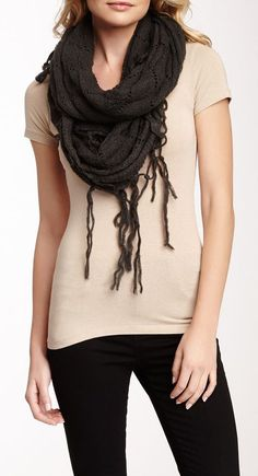 Michael Stars Accessories Feathered Fringe Triangle Scarf