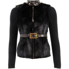 Gucci Black Fur & Knitted Jacket ($5,075) ❤ liked on Polyvore featuring outerwear, jackets, coats, black, gucci jacket, zip up jacket, zipper jacket, black zipper jacket and zip jacket