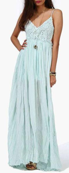 Soft Mint Boho Maxi Dress want this dress! Soft Mint Boho Maxi Dress want this dress! Best Maxi Dresses, Trendy Dresses, Cute Dresses, Cute Outfits, Summer Dresses, Summer Maxi, Formal Dresses, Estilo Fashion, Boho Fashion
