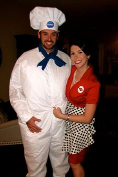 Cute couple costume, Pilsbury Doughboy and Betty Crocker