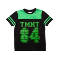 "Rep your favorite crime fighting Ninja Turtles with the Teenage Mutant Ninja Turtles Tee! Rock superhero style with this TMNT shirt, sporting a football jersey style with ""TMNT 84"" front text graphics, striped sleeves, and mesh detail around collar. Available for shipment in May; Pre-order yours today!"